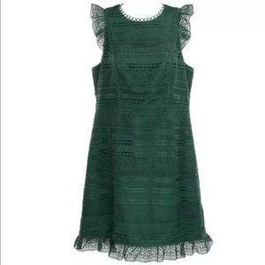 J Crew Cap Sleeve Ruffle Dress in Mixed Lace Green